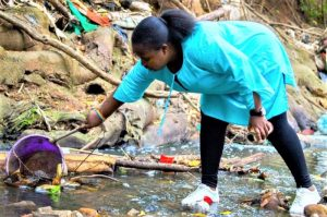 Winnie- Cleaning up river at Arboretum Nairobi