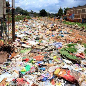 Illegal dumpsite along railway line next to Kibera Slum/Photo- Enviro Wild